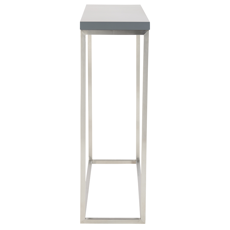 Teresa Brushed Steel + Matte Gray Modern Console Table
