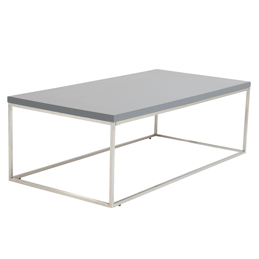 Call To Order Teresa Matte Gray Rectangle Modern Coffee Table
