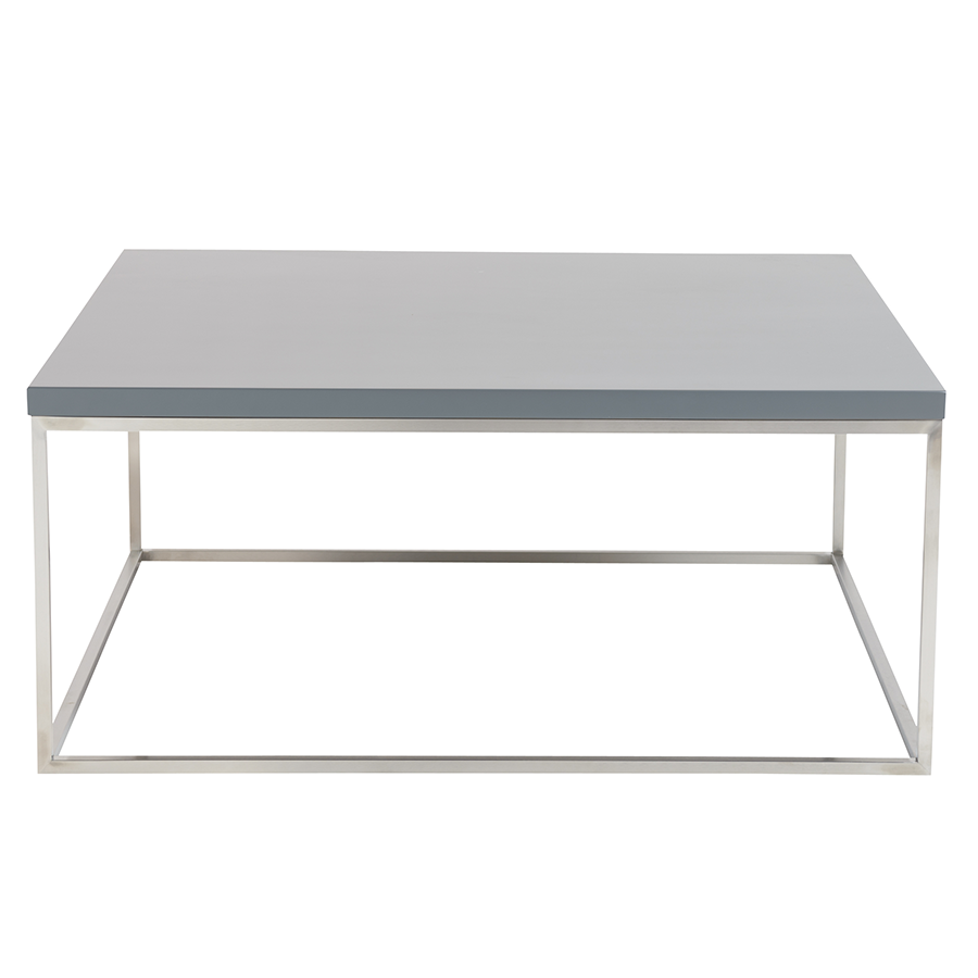 Teresa Matte Gray Square Contemporary Coffee Table
