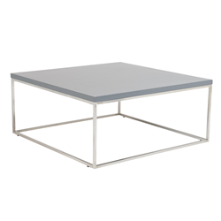 Teresa Matte Gray Square Modern Coffee Table