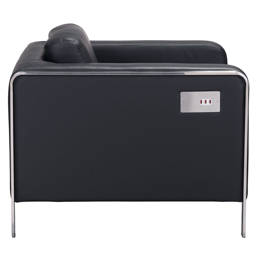 Terzo Black Leatherette Modern Lounge Chair
