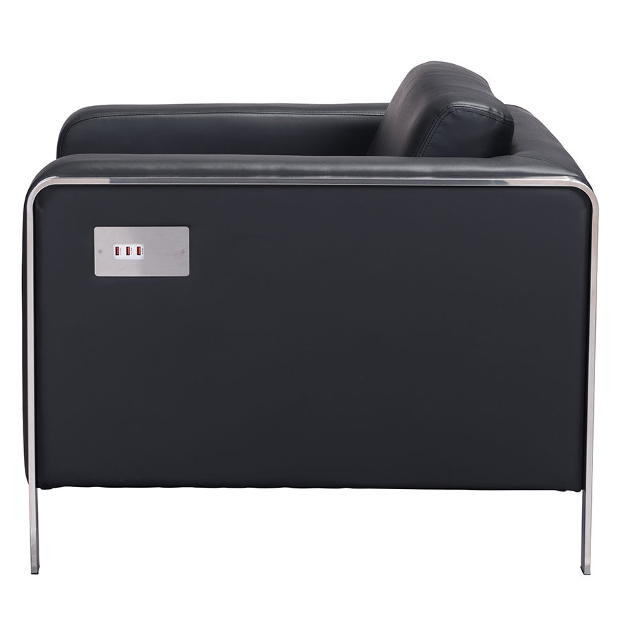 Terzo Black Leatherette Contemporary Lounge Chair