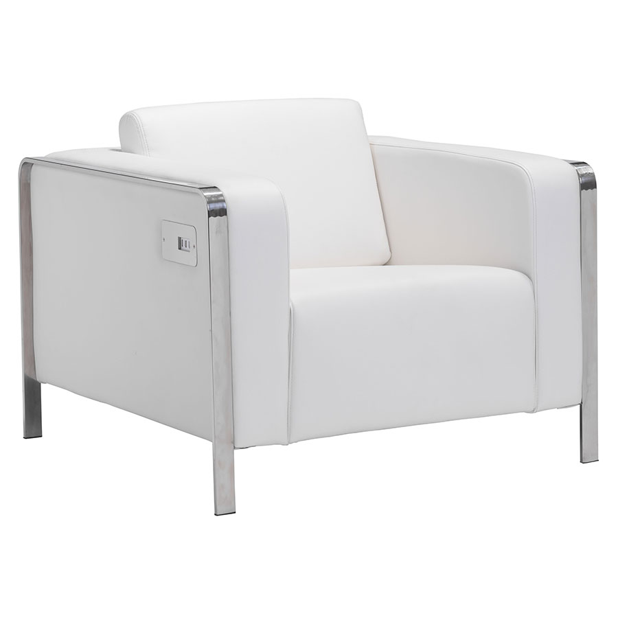 Terzo White Modern Lounge Chair