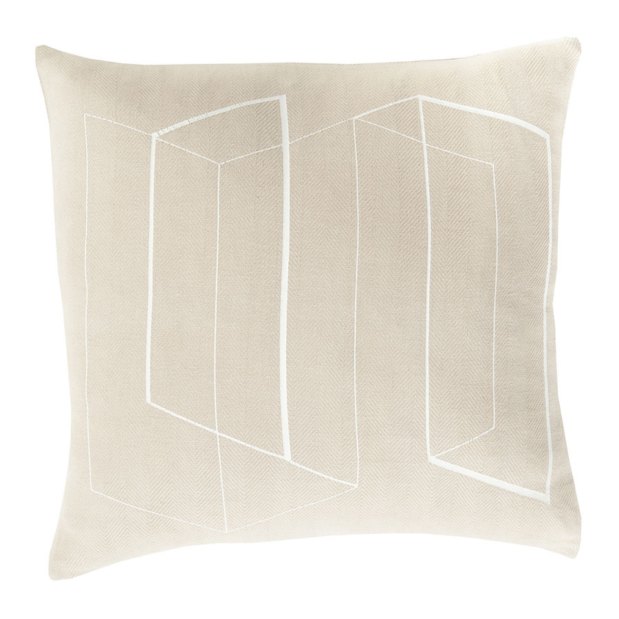 "Tess 22"" Beige Modern Pillow"