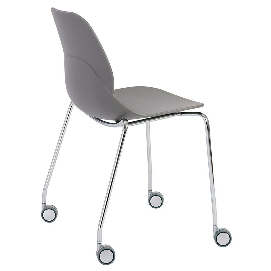 Teven Gray Rolling Contemporary Visitor Chair