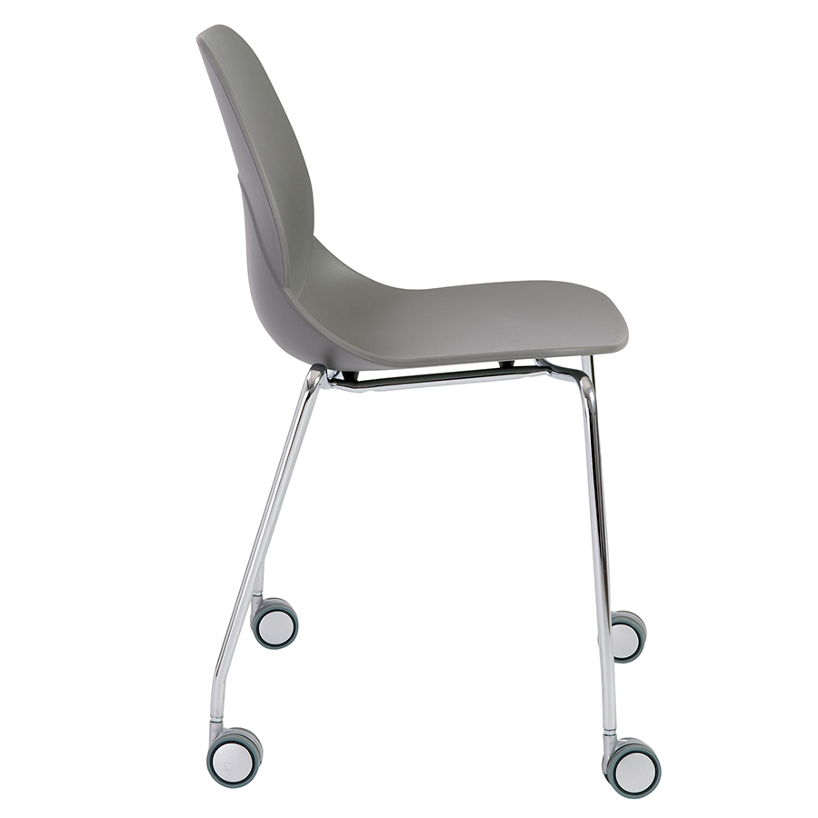 Teven Gray Rolling Modern Visitor Chair