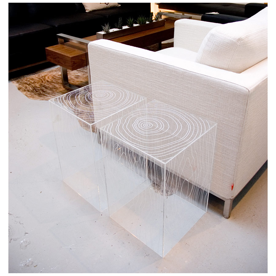 Timber Acrylic Table by Gus Modern - Pair Side Table