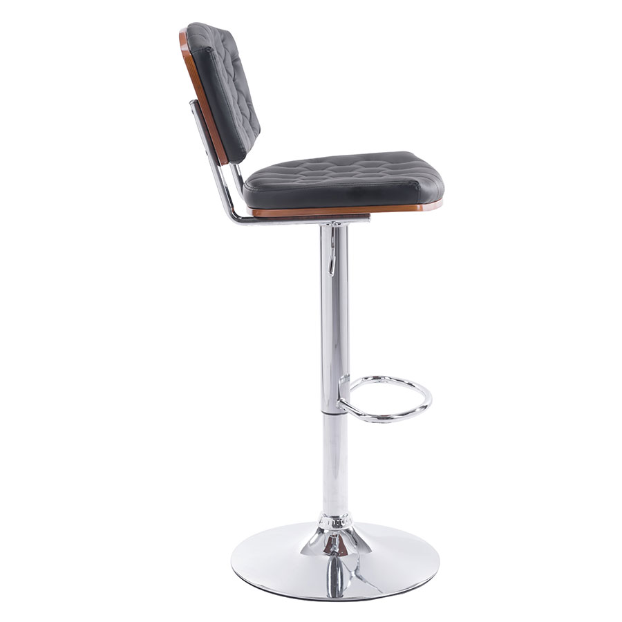 Tino Black Leatherette + Chrome Modern Adjustable Stool