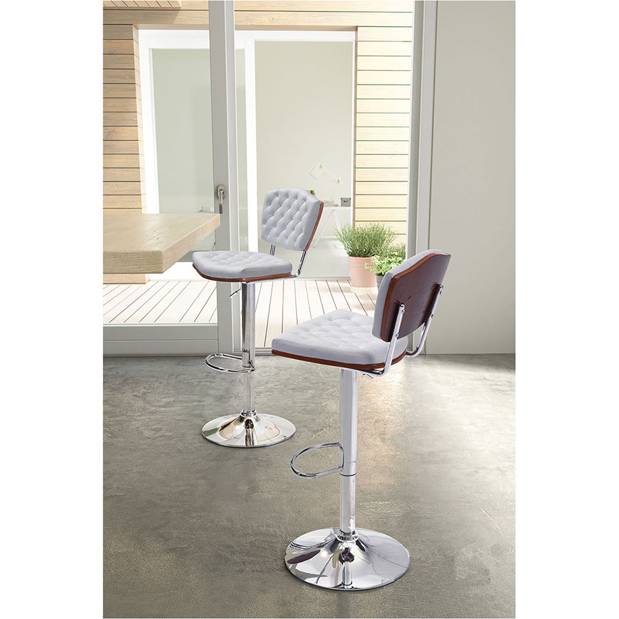 Tino White Leatherette + Chrome Modern Adjustable Height Bar Stool