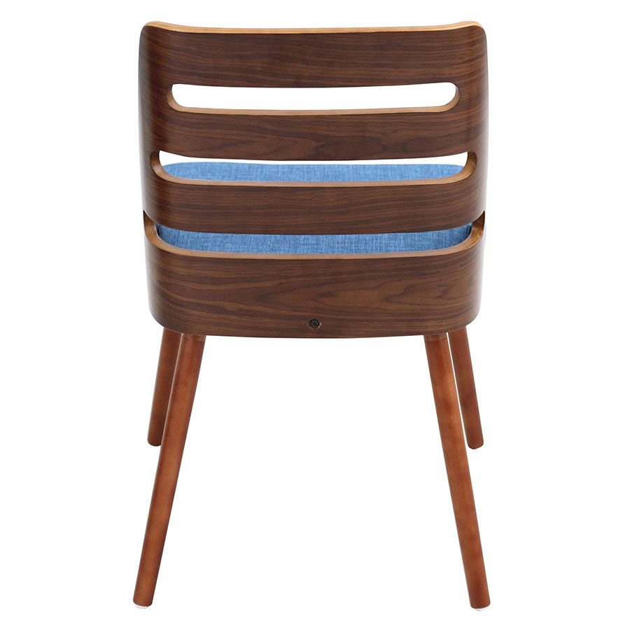 Titus Blue Fabric + Solid Walnut Modern Side Chair