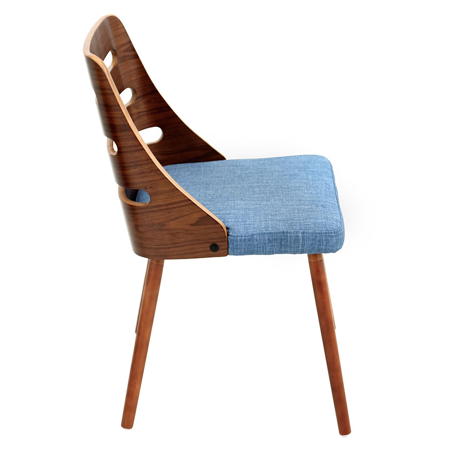 Titus Blue + Walnut Contemporary Side Chair