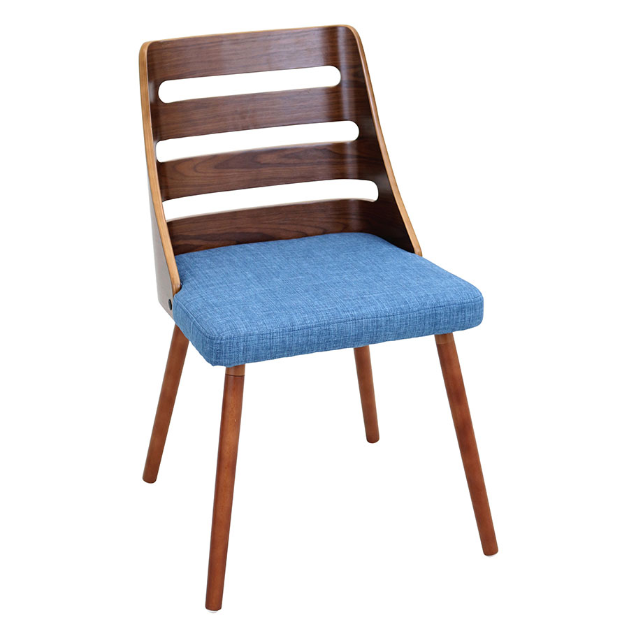 Titus Blue + Walnut Modern Side Chair
