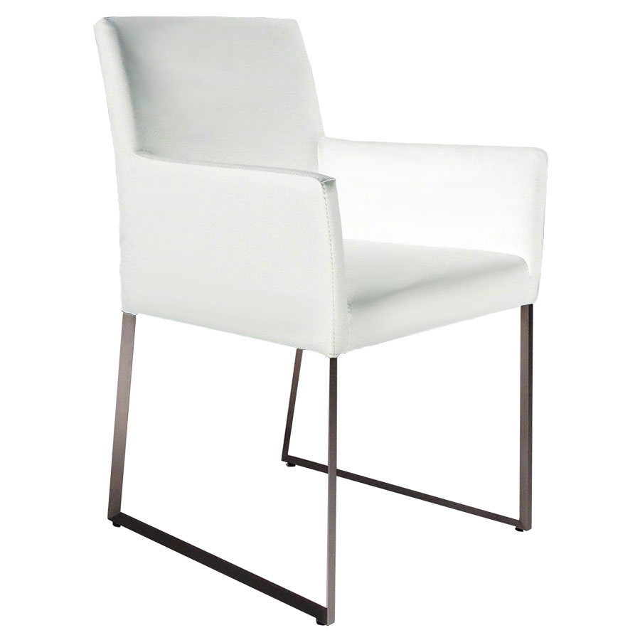 Modern dining chairs tobias white arm chair eurway for Arm chair white