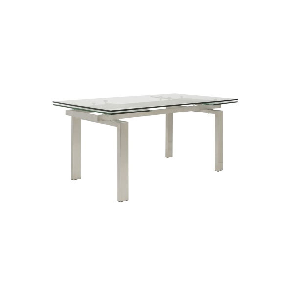 Torrance Modern Brushed Steel Extension Table - Closed