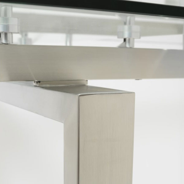 Torrance Modern Brushed Steel Extension Table - Detail