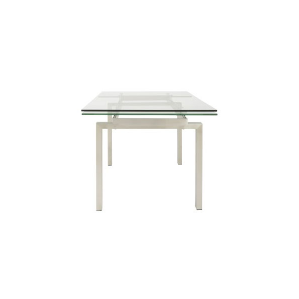 Torrance Modern Brushed Steel Extension Table - End View