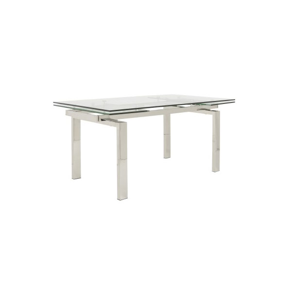 Torrance Modern Polished Steel Extension Table - Closed