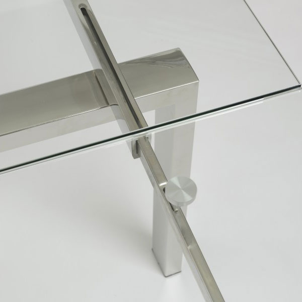 Torrance Modern Polished Steel Table - Extension Detail