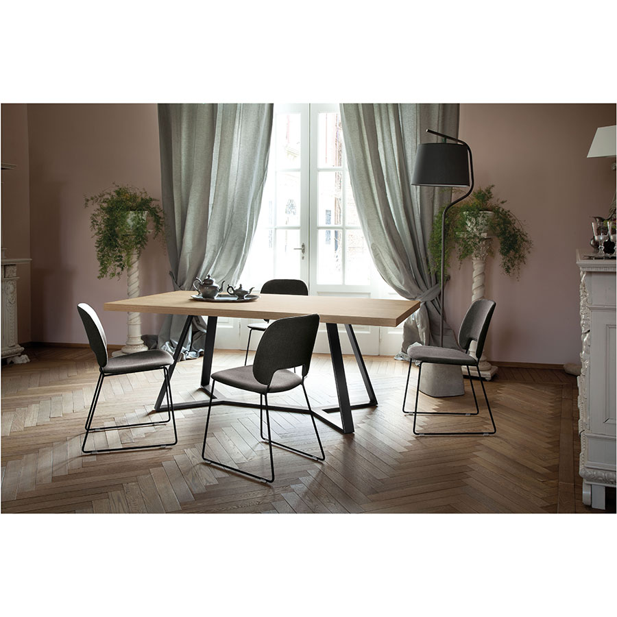 Trajan Black Sled Contemporary Set of Dining Chairs