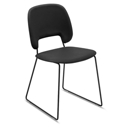 Trajan Black Leatherette Modern Sled Dining Chair