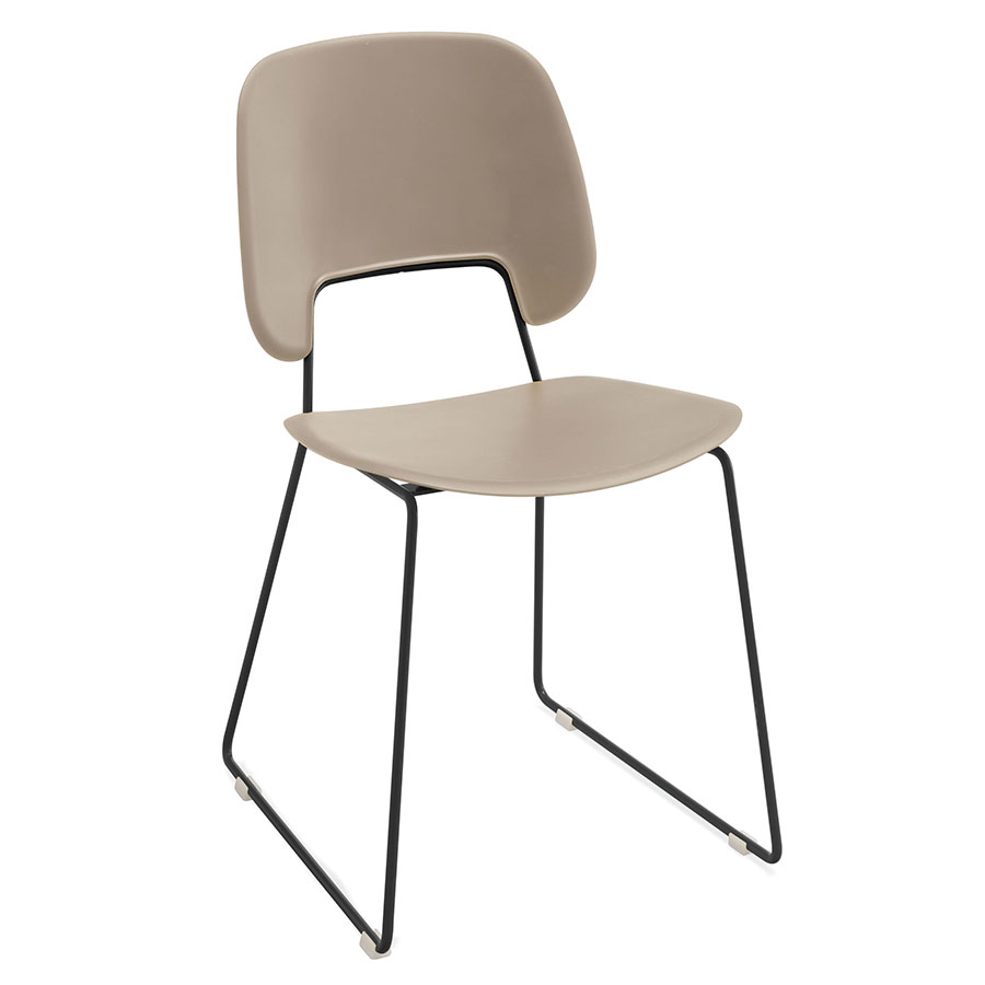 Trajan Black + Tan Modern Sled Dining Chair
