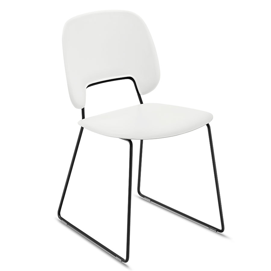 Trajan Black + White Modern Sled Dining Chair