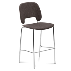 Trajan Chrome + Brown Modern Bar Stool