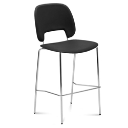 Trajan Chrome + Black Leatherette Modern Counter Stool