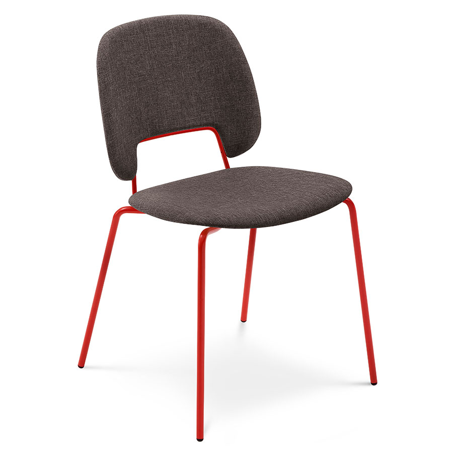 Trajan red brown modern dining chair eurway for Red modern dining chairs