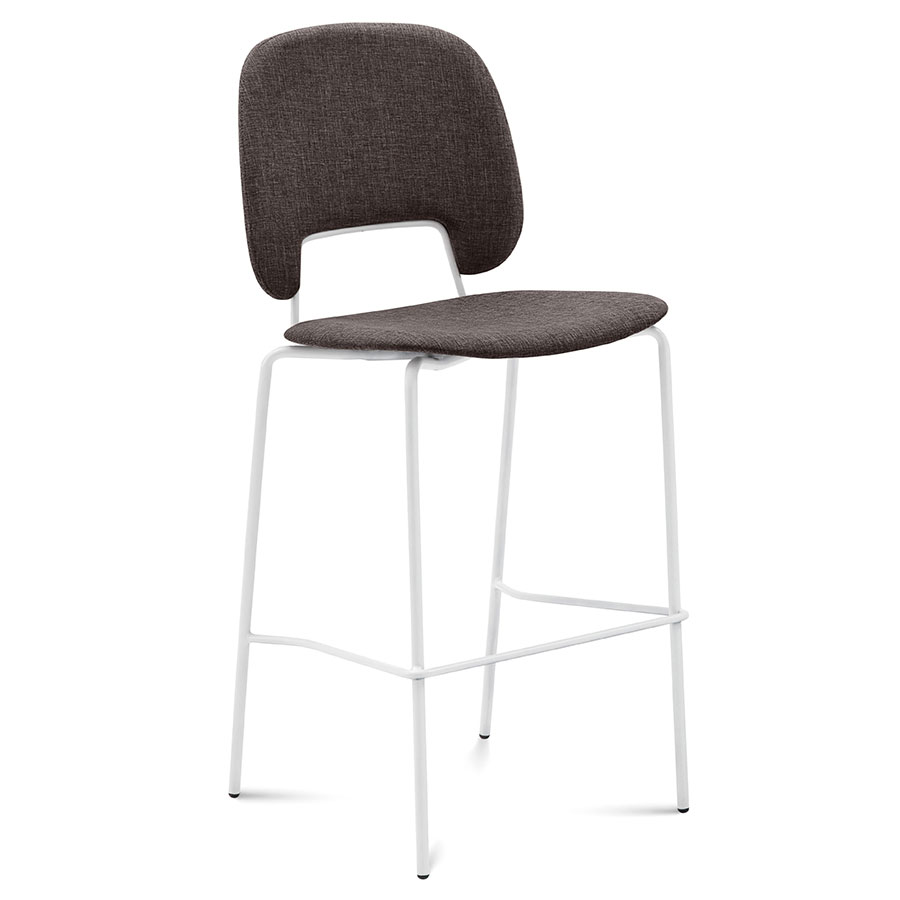 Trajan White + Brown Modern Bar Stool