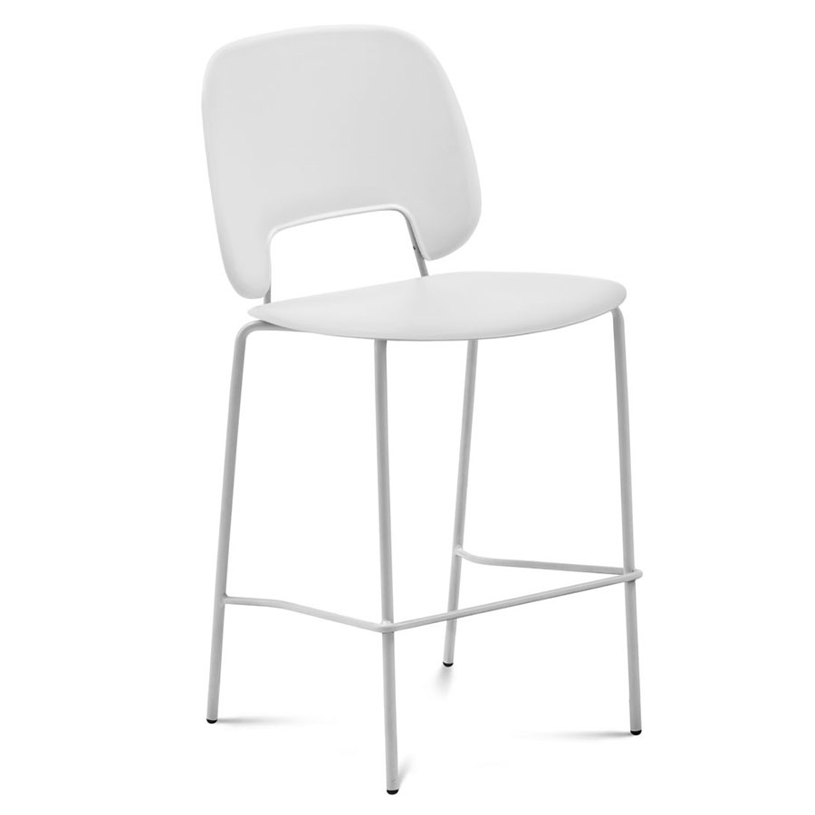Trajan White Modern Counter Stool