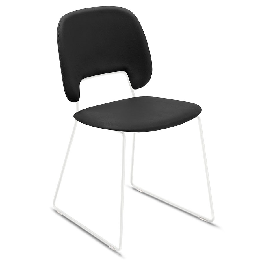 Trajan White + Black Leatherette Modern Sled Dining Chair