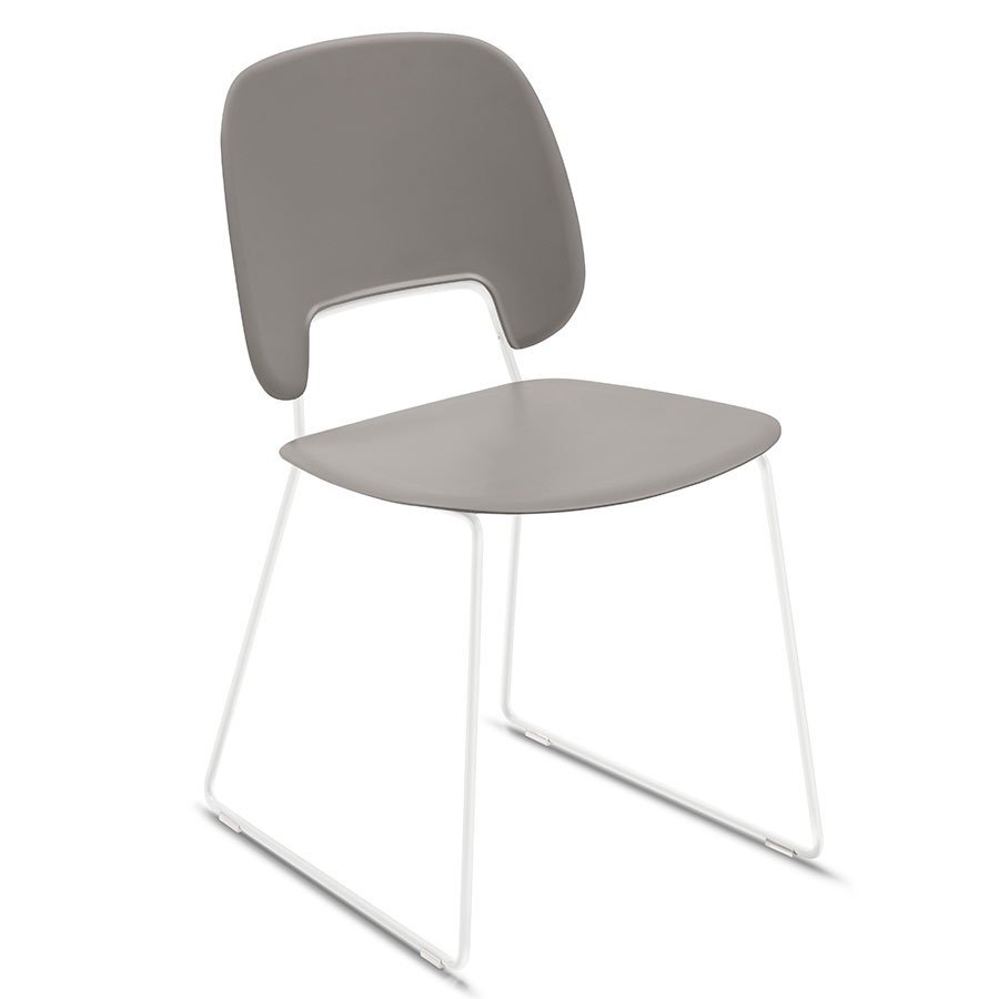 Trajan White + Tan Modern Sled Dining Chair
