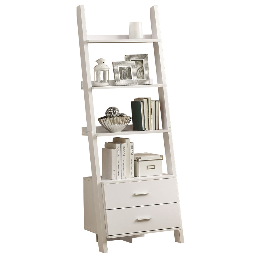 Trina Modern White Wall-Leaning Ladder Bookcase