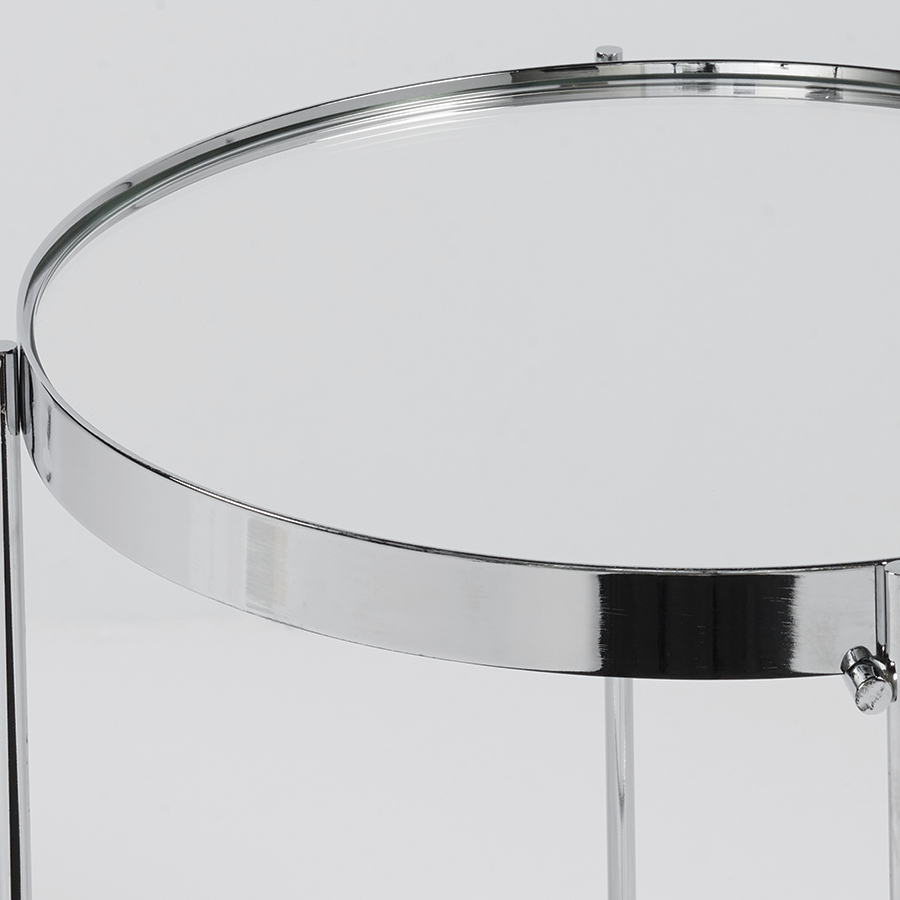Trinity Chromed Metal Modern Side Table With Removable Tray Top
