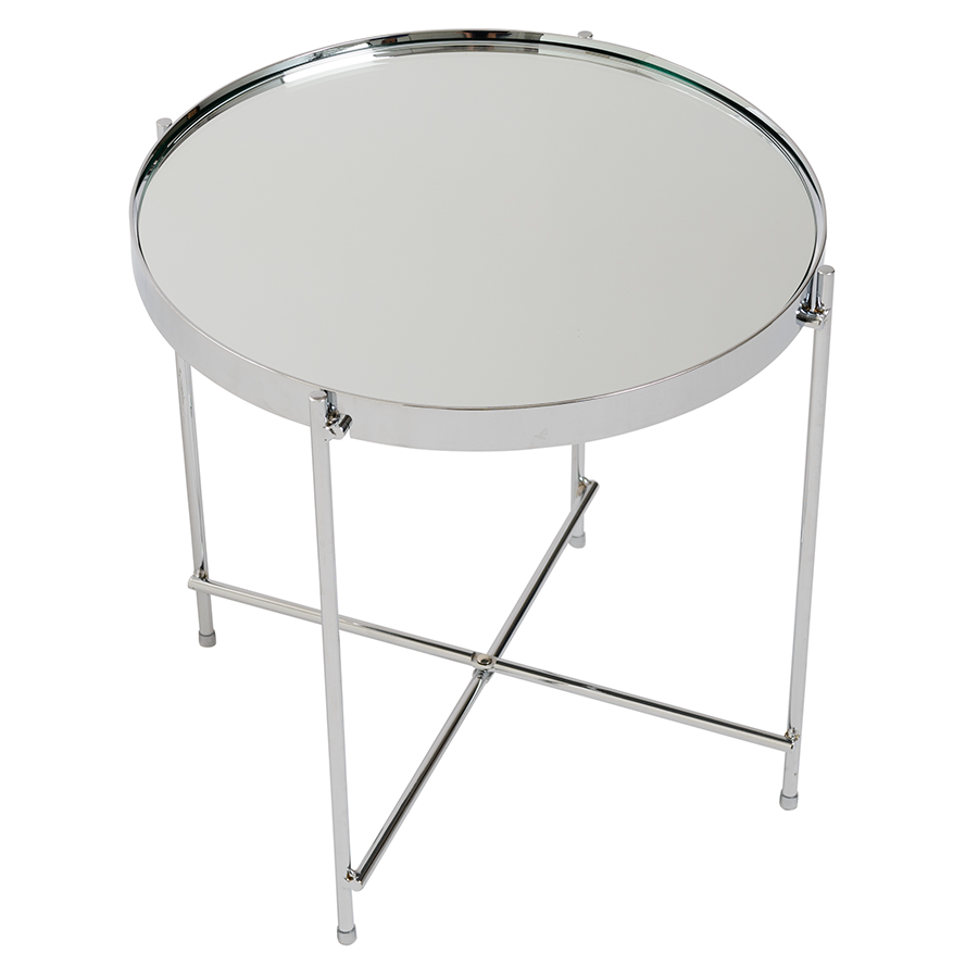 Trinity Chromed Metal Contemporary Side Table