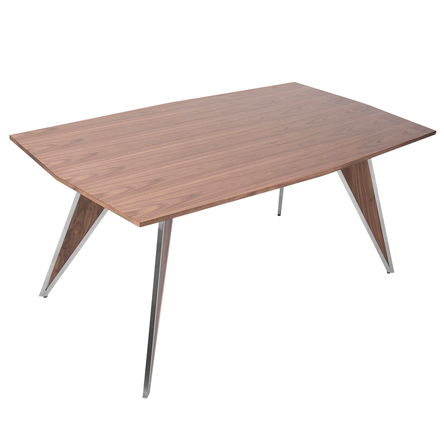 Trudy Walnut + Steel Contemporary Dining Table