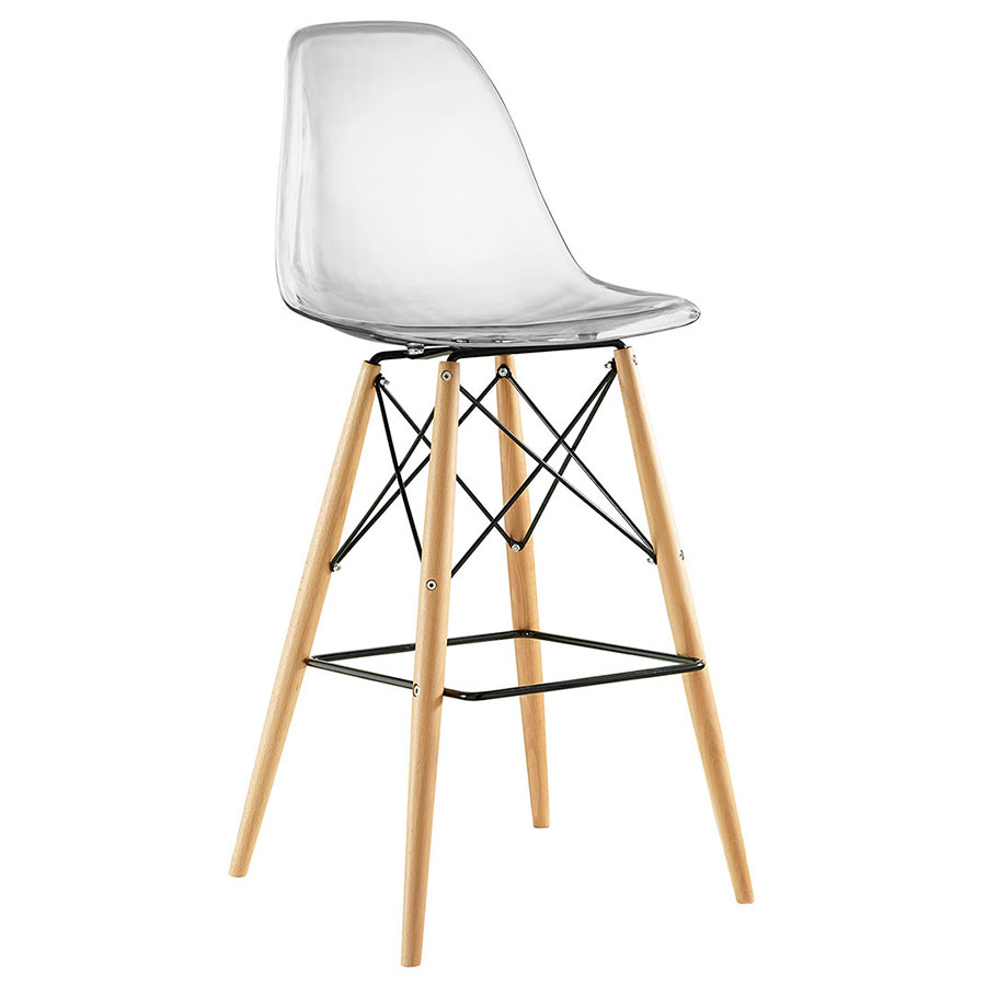 Truss Clear Mid-Century Modern Bar Stool