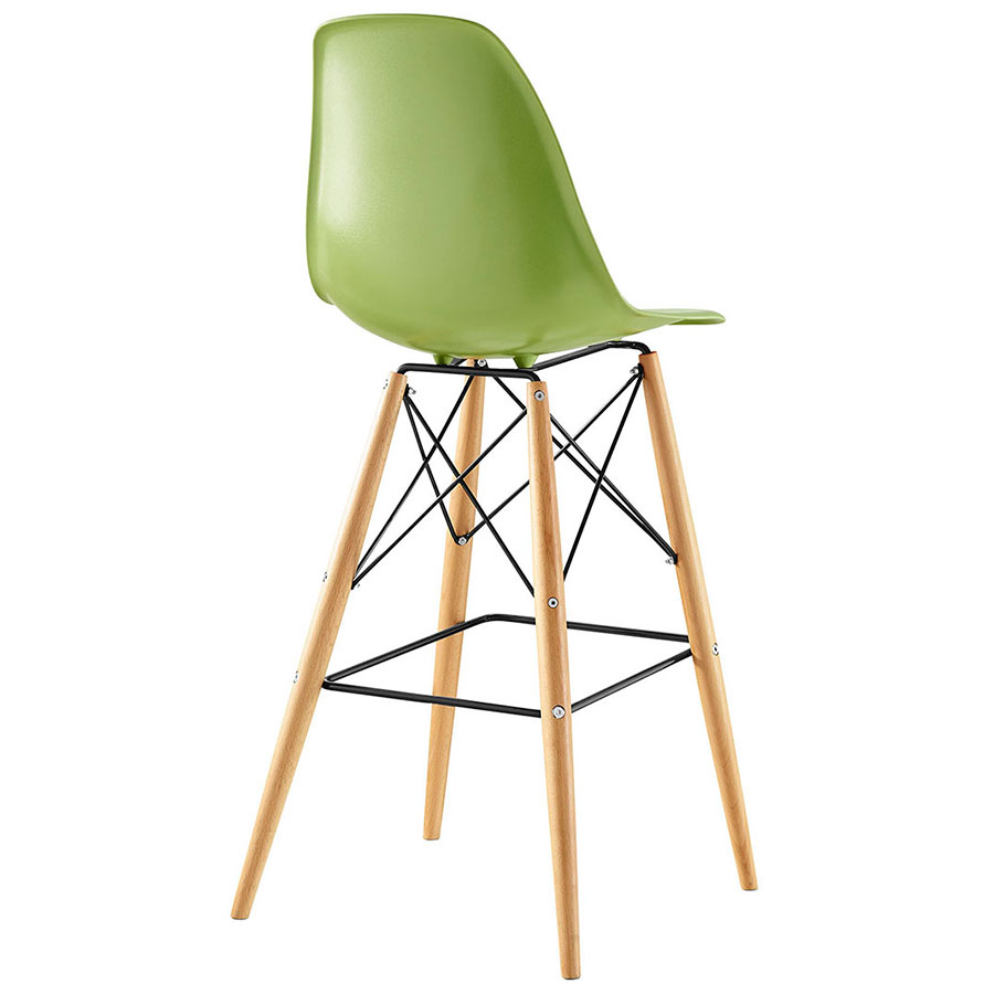 Truss Green Mid-Century Modern Bar Stool - Back View
