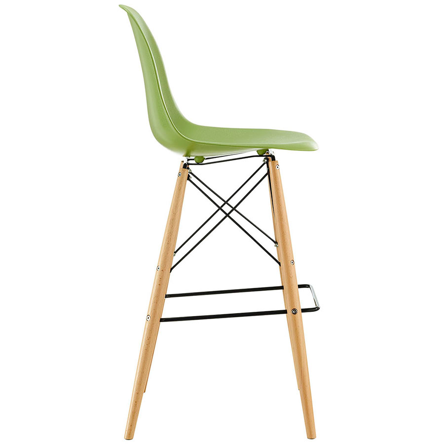Truss Green Mid-Century Modern Bar Stool - Side View