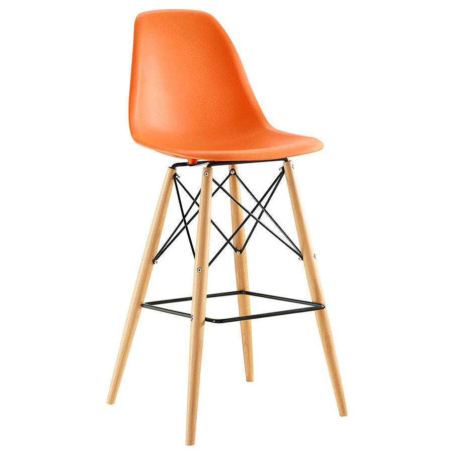 Truss Orange Mid-Century Modern Bar Stool
