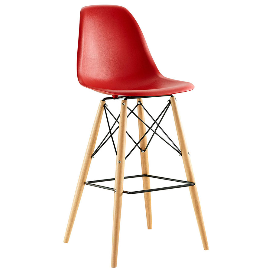 Truss Red Mid-Century Modern Bar Stool