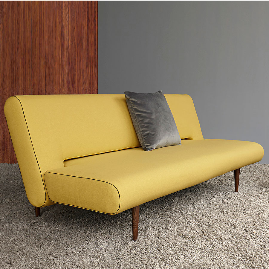 Unfurl Modern Sleeper Sofa in Mustard Fabric