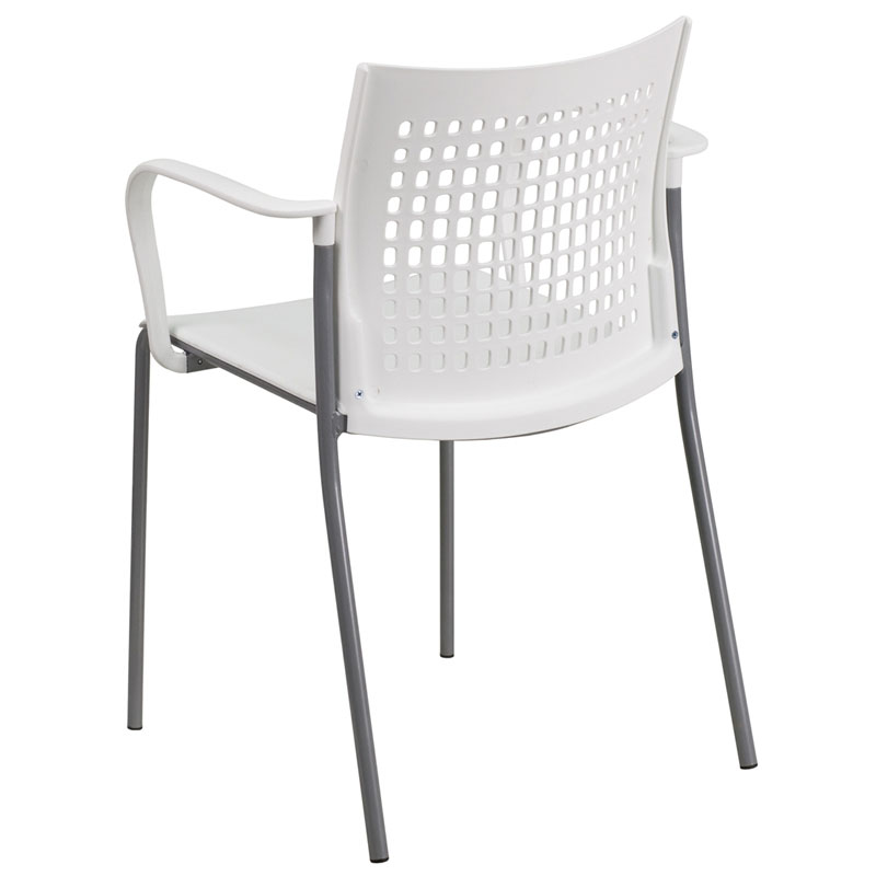 Union Modern Stacking Guest Chair in White - Back View