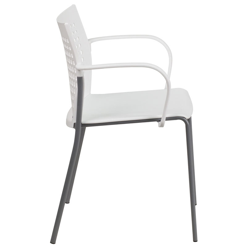 Union Modern Stacking Guest Chair in White - Side View