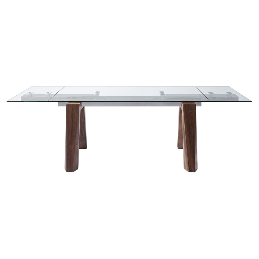 Valencia Walnut + Glass Modern Extension Table