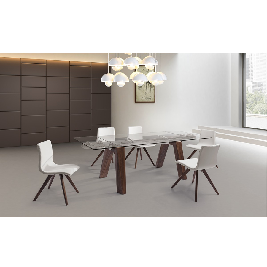 Valencia Walnut + Clear Glass Modern Extension Dining Table