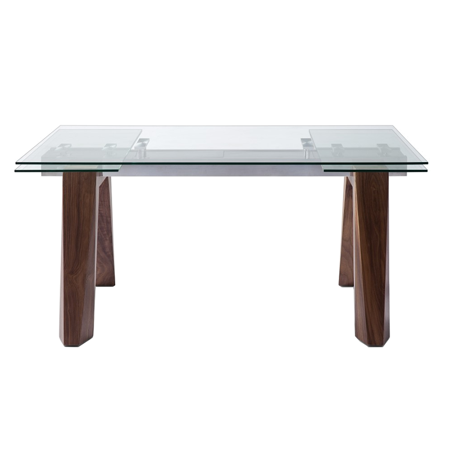 Valencia Walnut + Glass Contemporary Extension Table