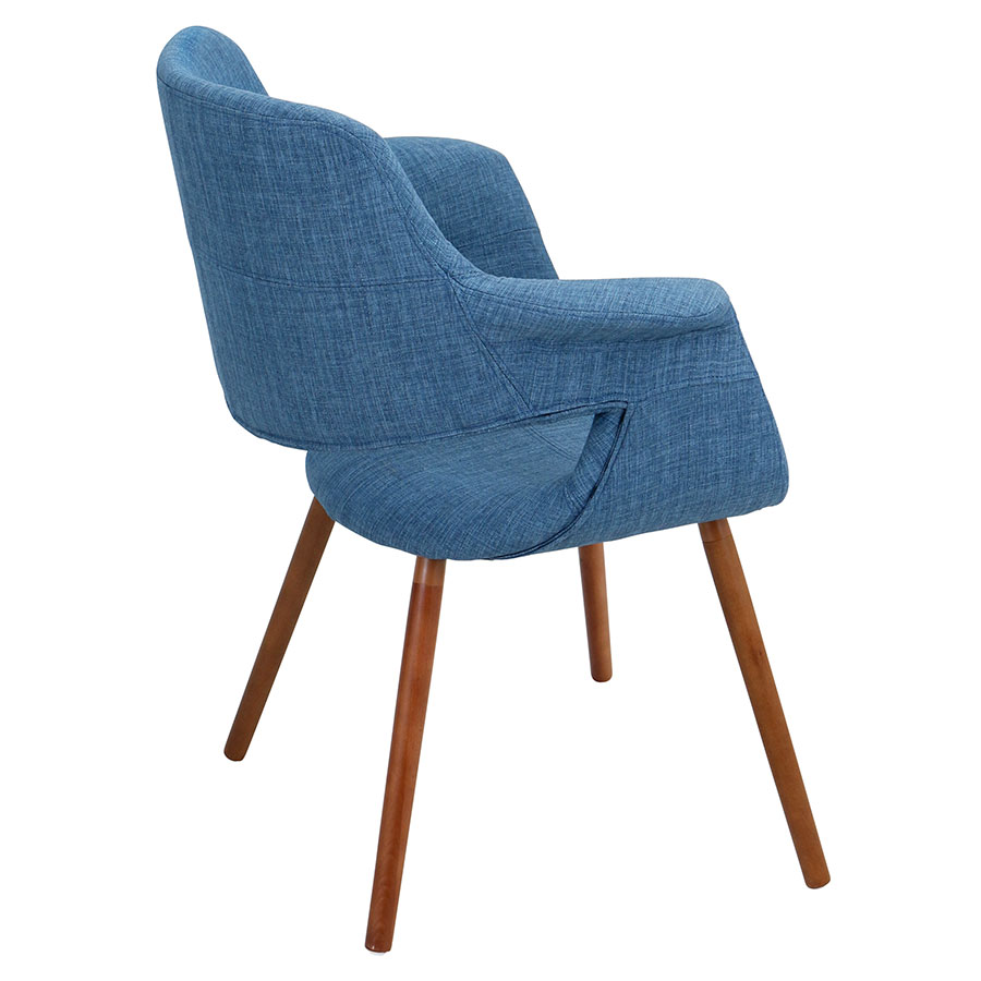 Valera Blue + Walnut Contemporary Arm Chair