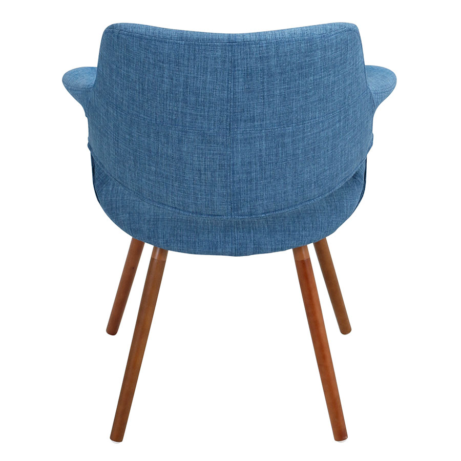Valera Blue Fabric + Solid Walnut Modern Arm Chair